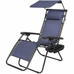 Zero Gravity Recliner Folding Lounge Chair with Canopy Shade