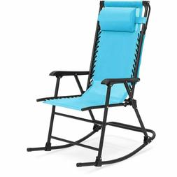 Zero Gravity Rocking Patio Chair Sunshade Canopy Outdoor Mes